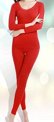 Home Modal Sleepwear Waist Slim Seamless Beauty Care Clothing Thermal Underwear Women Long Johns Set (Color : Red, Size : One Size)