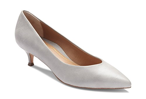 Vionic Women's Kit Josie Kitten Heels - Ladies Pumps with Concealed Orthotic Arch Support Light Grey Leather 8 Medium US