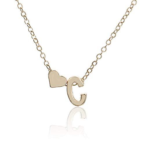 Nrew Collar con Colgante de Letra Inglesa, Gargantilla de Cadena Personalizada Delicada para Mujer, Oro