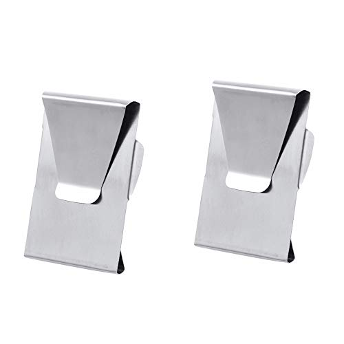 GooGou Silver Stainless Steel Slim Double Sided Money Clip Credit Card Holder 2 Pack
