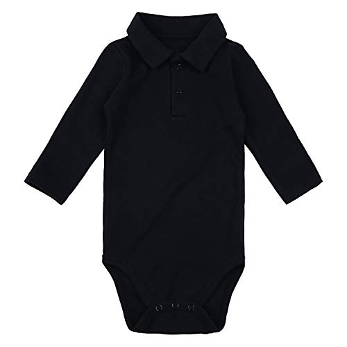 ROMPERINBOX Baby Boy Collared Onsies Solid Polo Shirts Basic Bodysuit Long Sleeve 0-24 Months (Black Long Sleeve, 6-9 Months)