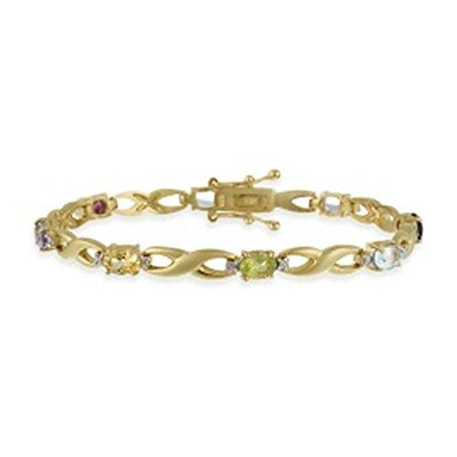 Edles Armband mit Amethyst, Granat, Peridot, Citrin, Topas und Diamant Akzenten, 24 Karat Gold Vermeil