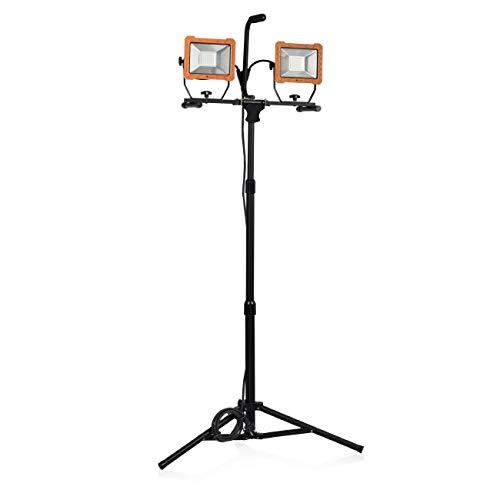 Smartwares Baustrahler mit Stativ - 2x 30W LED - 4800lm, Energieklasse A+, FCL-80114