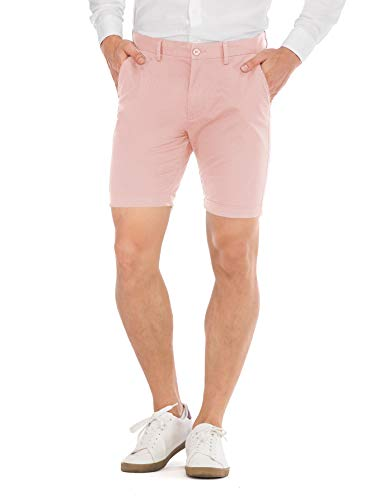 HONTOUTE Men's Stretch Chino Short 7 Inch Mid Waist Casual Flat Front Skinny Shorts Pink 32