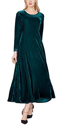 Urban GoCo Damska długa sukienka wieczorowa z długim rękawem, aksamitna sukienka na imprezę