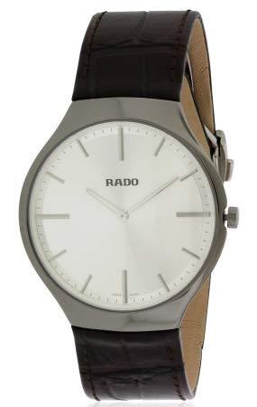 RADO MEN'S TRUE THINLINE 39MM BROWN LEATHER BAND SWISS QUARTZ WATCH...