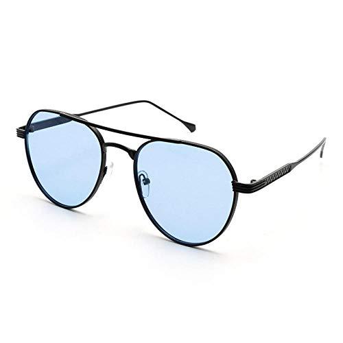 hqpaper Gafas de sol con montura grande, visera masculina, espejo de pesca femenino, tendencia, marco negro, azul