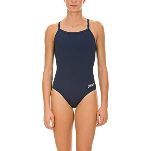 ARENA Women's Master MaxLife Sporty Thin Strap Racer Back One Piece, Navy/Metallic Silver, Size 34