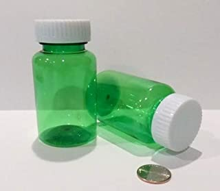 Plastic Travel/Medical Screw-Top Wide Mouth Packer Bottles 3.75 Ounce Clear Green 5 Ounce 30 Dram Size Package of 25 Units