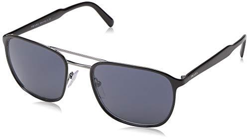 Prada 0PR 75VS Gafas de sol, Top Black On Gunmetal, 56 para Hombre
