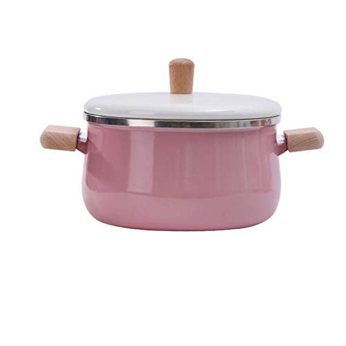 MGWYE Enamel Milk Pan, Hot Pots Cooking Pot Soup Pot With Lid Induction Cooker Gas Stove Cookware (Color : Pink)