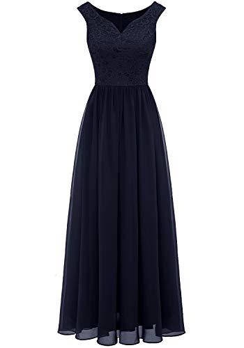 Aupuls 0070 Elegant Abendkleid Spitzen Maxi Chiffonkleid V-Ausschnitt Bodenlang Kleid Marineblau XL
