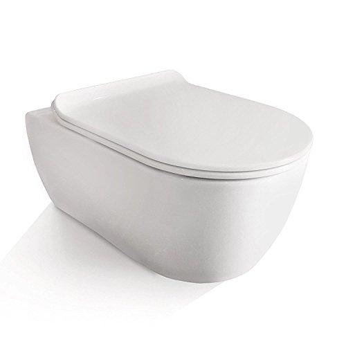 NEG Hänge-WC Uno11RL SlimLine (Tiefspüler/randlos) Toilette ohne Unterspülrand mit Duroplast Soft-Close-Deckel und Nano-Beschichtung