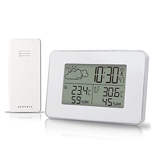 HCFSUK Estación meteorológica Reloj Despertador LCD Previsión meteorológica para Interiores y Exteriores...