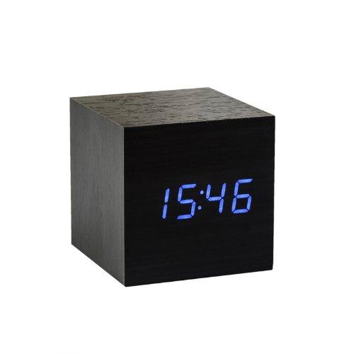 Gingko Cube Black Click Clock Blue LED