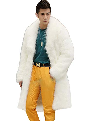 Erosebridal Mens Faux Fur Coat Long White Jacket Thick Winter Warm Furry Overcoat Outwear Parka Coat White 02 XL