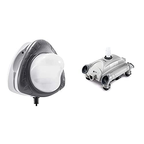 Intex 230V Magnetic Led Pool-Wall Light & Auto Pool Cleaner - automatischer leistungsstarker Poolbodenreiniger - Nur für 38 mm Schlaucharmaturen