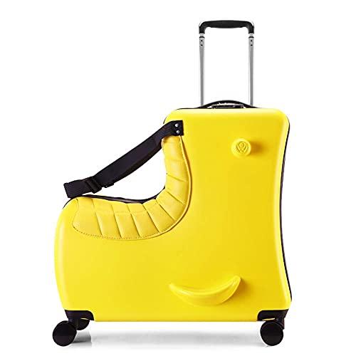 Maleta de Viaje para Montar de 20 '- Upgrade Maleta de Viaje para niños y Bolsa de Equipaje de Mano con Asiento de Cuero, Bolsa de Almacenamiento portátil con Ruedas