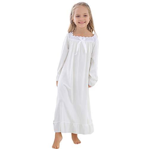 Gaga city Camisón Princesa para Mujeres y Niñas Camisón Blanco 100% Clásico y Cómodo Ropa de Dormir Full Length Vestido de Pijama de Manga Larga
