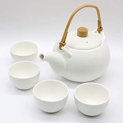 OMyTea Porcelain Japanese Tea Set - Ceramic Tea Pot Set with 4 Tea cups - 27 Oz Teapot & 3.4 Oz Tea Cup (White)