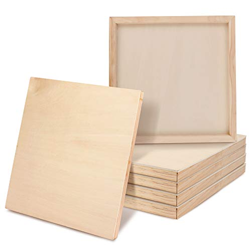 Belle Vous Lienzo de Madera (Pack de 6) - 20x20cm (8x8 inch) Paneles para Pintar en Interiores y Exteriores, Dibujos, Arte Encáustica y manualidades, Impasto y Proyectos de Medios Mixtos