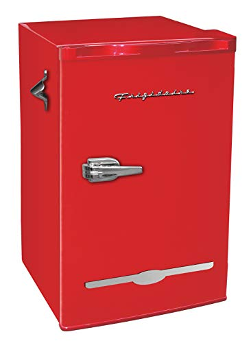 Frigidaire Retro Bar Fridge Refrigerator with Side Bottle Opener, 3.2 cu. ft, Red