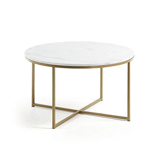 Kave Home - Mesa de Centro Sheffield Blanca Redonda Ø 43 cm de mármol y Estructura de Acero en Dorado