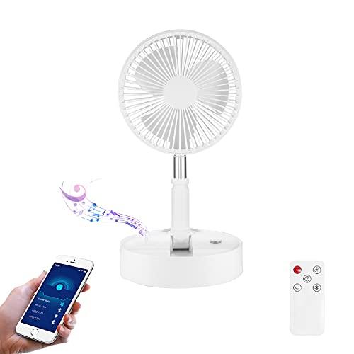 YUNYODA Ventilador de suelo plegable, ventilador de pie con función de altavoz Bluetooth USB recargable para dormitorio, oficina, acampada al aire libre