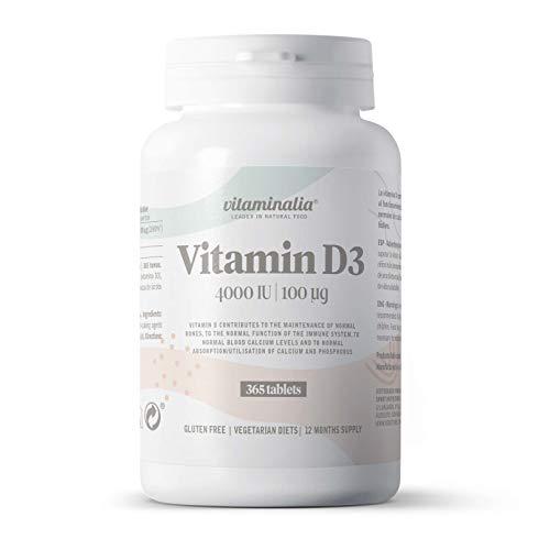 Vitamina D3 4000 IU de Vitaminalia | Vitamina D Colecalciferol de Máxima Absorción + Alta Dosis | Suplemento Vitamina D3 para 1 Año | Apto Vegetariano, Sin Gluten, Sin Lactosa, Sin GMO | 365 Tabletas