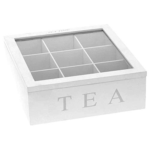 ACAMPTAR Recipiente de Almacenamiento de Caja de Té de Madera con Tapa Organizador de Cocina de 9 Compartimentos Organizador de Soporte de Almacenamiento de Bolsa de Té y Café