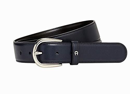Aigner Gürtel Basic mit S-Schließe silber 126371 blau-90 cm