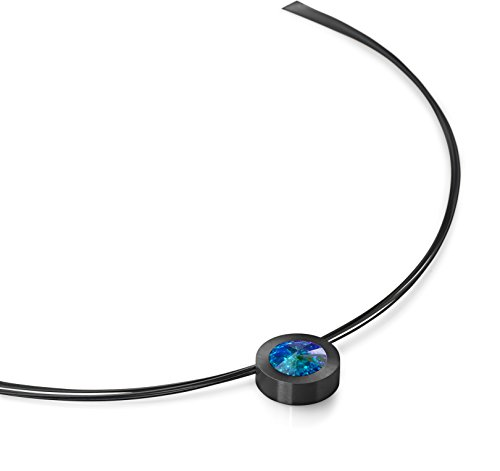 Heideman Halskette Damen Coma 16 aus Edelstahl schwarz matt Kette für Frauen mit Swarovski Stein Kristall Aurore boreale Opal im Fantasie Edelsteinschliff