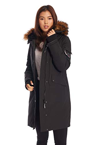 Alpine North Womens Vegan Down Long Parka Winter Jacket Black