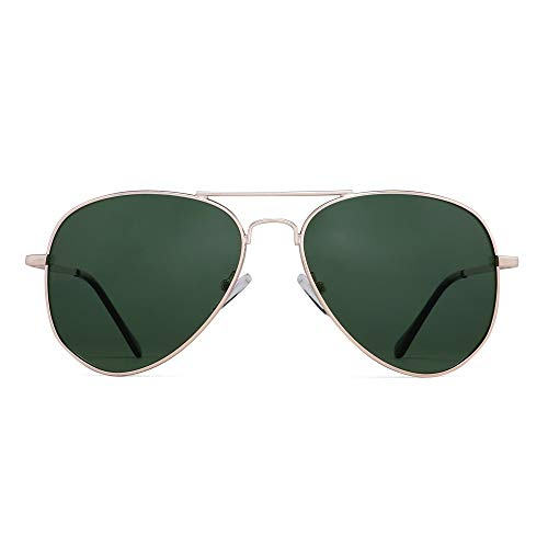 JM Gafas de sol piloto polarizadas retro hombres, mujeres, gafas de sol con montura de metal, protección UV 400 (montura dorada clara/lente verde polarizada)
