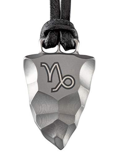 D-Vision-Jewelry Herrenkette Herrenschmuck Halskette Titan Faustkeil Sternzeichen Steinbock Lederband handgearbeitet (65)