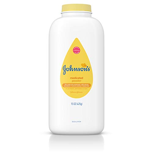 Johnsons Medicated Diaper Rash Baby Powder, Zinc Oxide and Natural Cornstarch, 15 oz