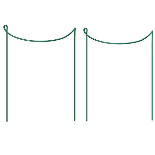 Metall-Garten Stützen | 2 Stück | Halbrund Pflanzenstützen Grün | Staudenhalter Blumenhalter Rankengewächs Pflanzenstütze Blumenstütze Staudenstütze Rankhilfe Strauchhalter Rosenstütze (L: 25x40cm)
