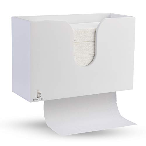 paper towel dispenser for home bathrooms Bamboo Paper Towel Dispenser, Paper Towel Holder for Kitchen Bathroom Toilet of Home and Commercial, Wall Mount or Countertop for Multifold, C Fold, Z fold, Trifold Hand Towels (White)