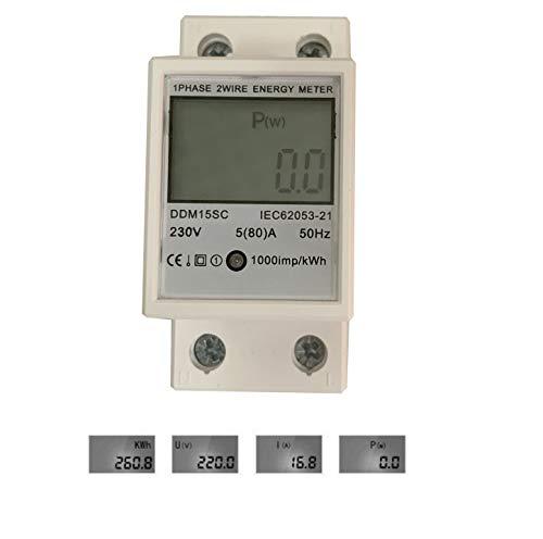 JVJ LCD Wechselstromzähler 5(80) A 230V Stromzähler 1 Phase Energiezähler Wattmeter KWH Hutschiene