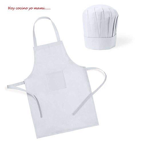 Lote de 25 Delantales Infantiles con Gorro para los pequeños Cocineros. En Color Blanco.