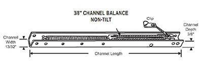 "STB Window Channel Balance, Non Tilt, Stamped 16C   17"""