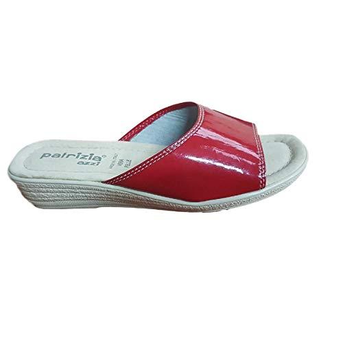 Sandalo Donna Ciabatta Mare Pelle 100% Art.177 (38 EU, Rosso Vernice)