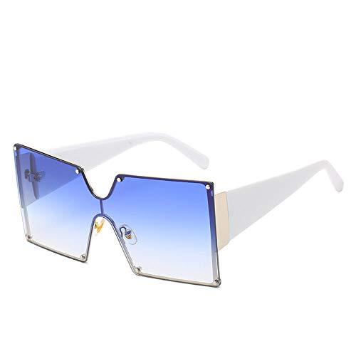 Damen Sonnenbrille Aus Kunststoff,Mode Koreanischen Square Big Frame Siam Straße Wilde Straße Schießen Weiblich Weiß Blau Crystal Rainbow Weibliche Brille Sonnenbrille Uv 400 Für Reisen, Alltag,