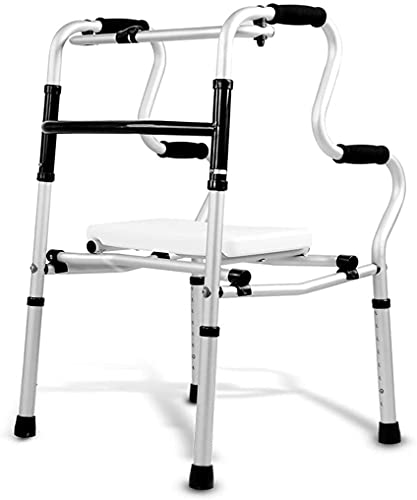 SJZLMB Walkers for the elderly Compact Folding Walker with Seat,Standard Walkers for The Seniors,Adjustable Height,Lightweight Supports up to 200 lbs