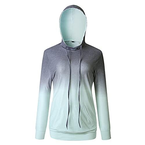 Sudaderas para mujer cuello redondo camisas de manga larga estampadas con teñido anudado con capucha superiores jerseys estampada tops degradados con cordones sueltos camisas casuales con bolsillos