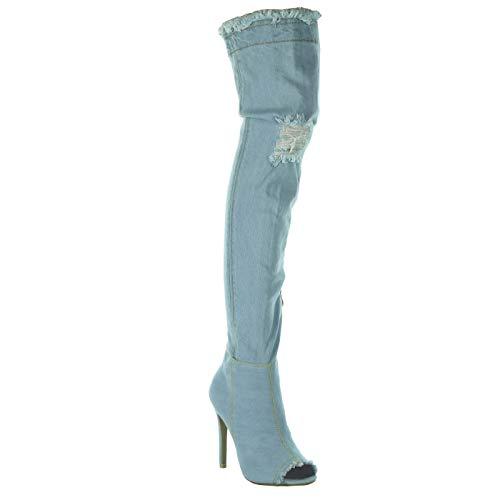 Angkorly - Zapatillas Moda Botas Altas Jeans Denim Stiletto Sexy Mujer deshilachada Tacón de Aguja 11 CM - Azul Claro M6202-1 T 38