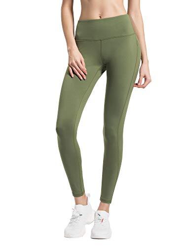 QUEENIEKE Damen Yoga Hosen Plus Größe Mittlere Taille Power Stretch Laufhose für Fitnesstraining Farbe Armee-Grün Größe XS