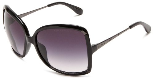 Big Sale Marc by Marc Jacobs Women's MMJ 217/S 0KKL Rectangle Sunglasses,Black & Ruthenium Frame/Grey Shade Lens,One Size