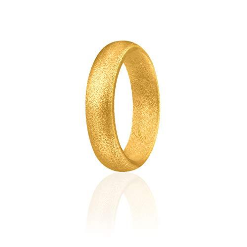 ROQ Anillo de boda de silicona para mujer, alianzas de boda de goma de silicona, 7 paquetes, 4 unidades y individuales, purpurina y metal, oro rosa, plata, rosa, negro, azul 6.5-7 (17.3mm) morado
