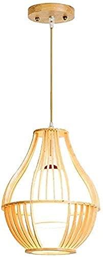 HEZ Bambú Colgante Luz Estilo Japonés Single Head Tela Nórdica Lámpara Cocina Isla Araña Lámpara de Techo Iluminación Arte Decoración para Dormitorio Salón Aisle E27 Colgante de Techo,1 Paquete